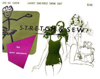 1960s Vintage Swimsuit Pattern Stretch & Sew 1300 Bathing Suit One Piece Maillot Swimsuit Beachwear Women Sewing Pattern Size 8 10 12 UNCUT