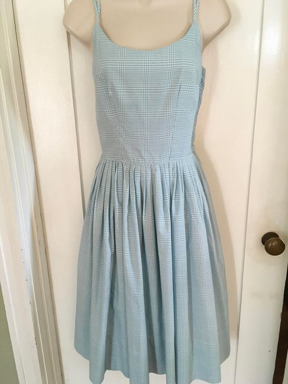 1950s FRITZI of California Blue and White Gingham Sleeveless Cotton Summer Dress-XS