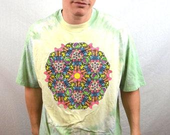 Vintage 1990s 90s Neon Rainbow Mandala Ying Yang Grateful Dead Tie Dye Lot Tee Shirt