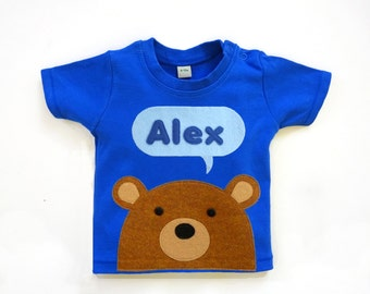 Organic Baby T-Shirt : Baby Boy Personalized Bear T-Shirt , Baby Shower, Baby Boy