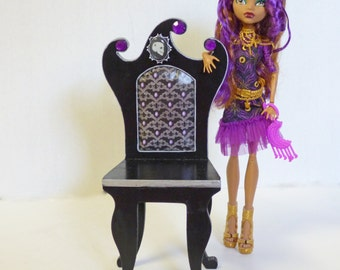 Doll Chair - Gothic Doll Furniture - Doll Photo Prop - BJD Furniture - Miniature Chair - Miniature Display Shelf