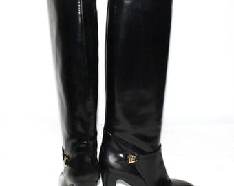 GUCCI Vintage Boots Smooth Black Leather Harness Logo Boots 37.5 - DEADSTOCK-