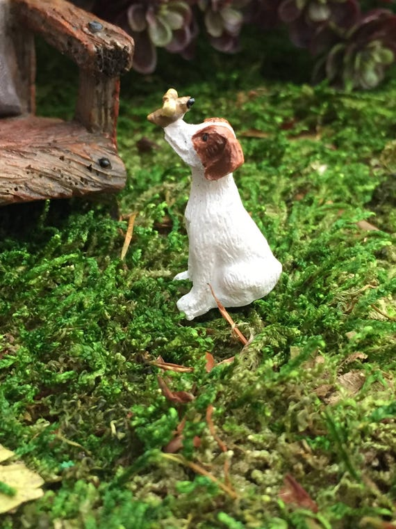Mini Puppy Figurine With Bug On Nose, Mini Dog, Fairy Garden Accessory, Miniature Garden Decor, Home and Garden, Shelf Sitter, Gift, Topper