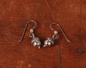 Acorn Earrings - Silver Acorn Earrings - Fall Earrings - Autumn Earrings - Drop Earrings