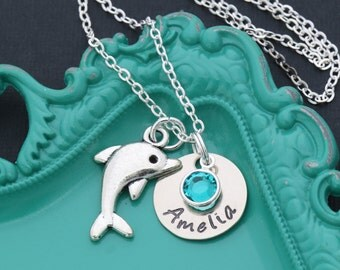 Custom Dolphin Necklace • Girls Dolphin Gift Charm Dolphin Lover Gift • Save Dolphin Rescue•Tropical Jewelry Beach Necklace Ocean