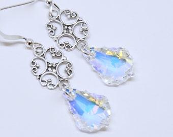 Solid Sterling Silver Earrings, Swarovski Clear Crystal Earrings, Aurora Borealis Finish, Swarovski Baroque Earrings, Elegant Bridal Jewelry