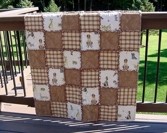 Lap Quilt & Pillow Set Whimsical Dogs Tan Plaid Flannel Patchwork Throw -Poodle St Bernard Pekingese Dachshund Pomeranian Terrier Hound Boys