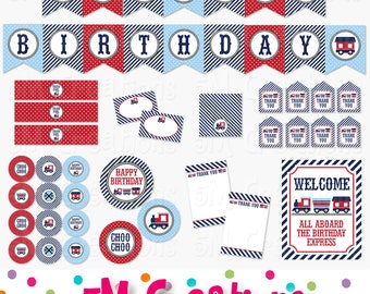 Train Birthday Party Printable Package - Train Party Decorations - Banner Cupcake Toppers Favor Tag Sign- blue navy red Instant Download Pdf