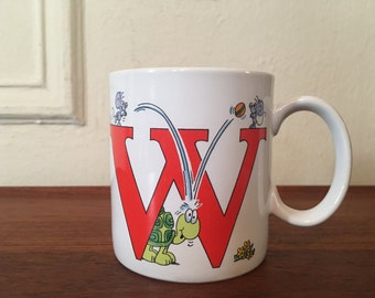 The letter W, vintage 1980s coffee mug - retro, cuppa, tea cup, office, coworker, koala bear, eighties, kitsch