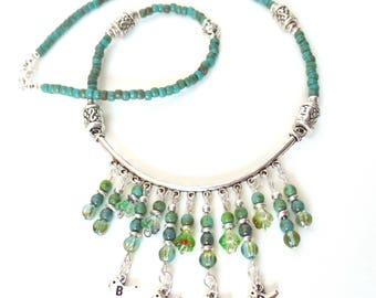 Green Bird Necklace - Picasso Glass Beads - Turquoise Bib Necklace - Beaded Dangles - Statement Necklace - Aquamarine Fluted Glass Beads