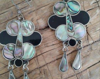 70s Mexican Silver, Abalone Shell, & Enamel Earrings—Dangly