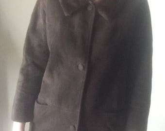 mink fur collar chocolate brown suede mod 50s 60s vintage retro winter pea coat soft mint condition