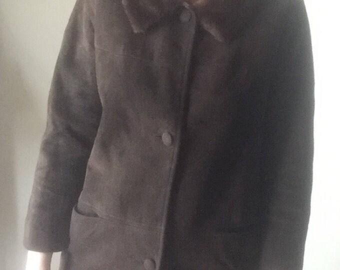 mink fur collar chocolate brown suede mod 50s 60s vintage retro winter pea coat soft mint condition