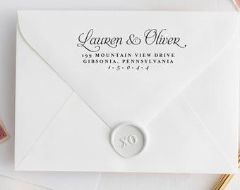Return Address Stamp, Address Stamp, Custom Stamp, Personalized Stamp, Self Inking Stamp, Wedding Stamp, Calligraphy Address Stamp