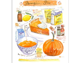 Pumpkin pie recipe print, American recipe, Kitchen wall art, Watercolor pumpkin pie poster, Pumpkin painting, Food art, Orange wall decor