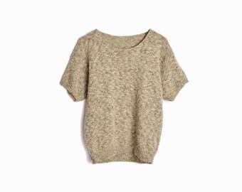 Vintage 80s Short Sleeve Sweater in Tan & Black / Beige Knit Top - women's medium/large