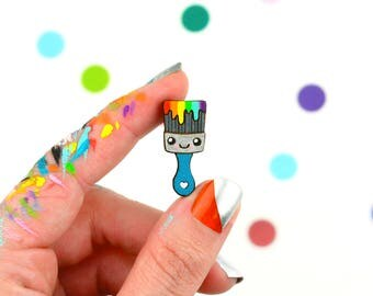 rainbow paintbrush pin / hand painted laser cut wood flair lapel badge with rubber back / happy maker painter brush
