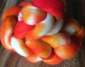 Red-Orange & Natural Corriedale Cross Wool Roving Braid
