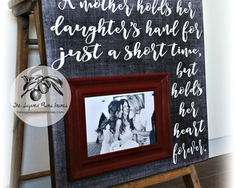 Mother of the Bride Gift, Wedding Gift for Mom, A Mother Holds Her Daughters Hand, 16x16 The Sugared Plums Frames