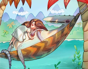 Time Well Spent - A5 Print - Mr Jack Hannakin collaboration illustration hammock island desert tropical ocean sleep sleepy girl dinosaur