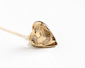 Vintage 12k Rose & Yellow Gold Filled Flower Heart Locket Necklace - Art Deco 1940s Sweetheart Floral Romantic Love Repousse Pendant Jewelry