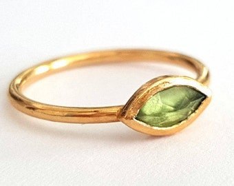 Peridot Marquise Ring, Gold Ring, Engagement Ring, August Birthstone Ring, Anniversary Rings, Solitaire ring, Handmade Ring,