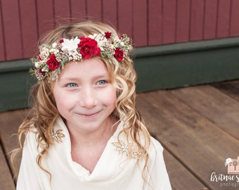 Frosted holiday headband, Christmas halo,red tieback and deep red halo,flower crown,winter headband,holiday tieback, ready to ship