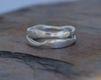 Wave Band Set, Wave Ring, Sterling Silver, Handmade, Shadow Band, Asymmetrical Stacking Bands, Stack Set