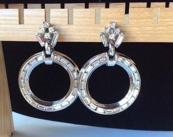 Outstanding Crown Trifari Baguette Circle Earrings - Rhodium Setting