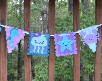 Purple & Teal Under the Sea Party Decoration Sea Life Animal Banner Under the Sea Baby Shower Birthday Photo Prop Wall Art READY TO SHIP