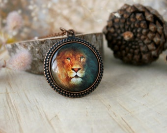 Leo Horoscope Amulet , Antique Copper Pendant, Glass Cabochon Pendant With Chain