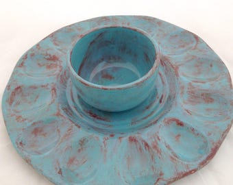 Deviled Egg Plate with Optional Condiment Bowl - Ceramic Egg Platter - Robin's Egg Blue and Brown