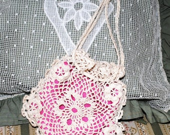 ANTIQUE Crocheted PURSE with ROSES Pink lining