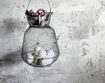 Vintage Wire Hanging Basket / Fish Basket