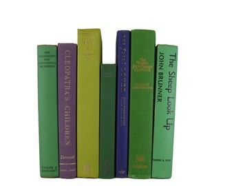 Green Purple Books , Old Green Books, Decorative Books, Books by Color, Book Home Decor,  Vintage Books, Instant Library, Housewarming Gift