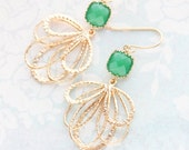 Jade Green Glass Earrings Modern Gold Dangle Fan Filigree Abstract Floral Feather Dark Leaf Green Bridesmaids Jewelry Gift For Her