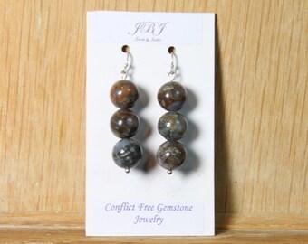Earth Opal Earrings, Sterling Silver Jewelry, natural gemstones, gifts for her, earthy gemstones, formal earrings E2160