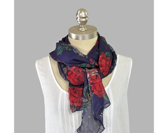 Vintage Long Floral Scarf Sheer Chiffon Scarf Purple Violet Red Rose Print with Gold Glitter Oblong Long Summer Scarf