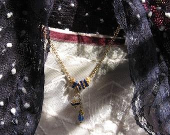 Sapphire & Gold Swarovski Necklace - Blue Crystal