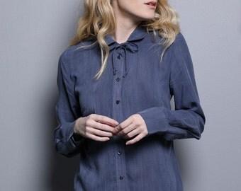 Blue blouse for women, blue collar shirt, blue womens blouse, women colar shirt, woman bloues, button down shirt, blue tailored blouse