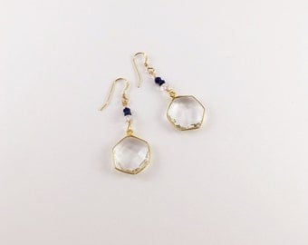 Quartz Star & Blue Lapis Earrings, Lapis Earrings, Bezel Set Quartz Earrings by Indira Boheme