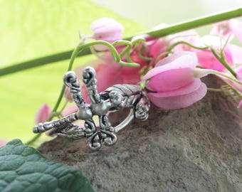 Delicate Ring, Detailed Dragonfly Ring, Solid 925 Sterling Silver, Dragonfly Jewelry, Rings for Women, Classic Rings, Dainty Ring for Her