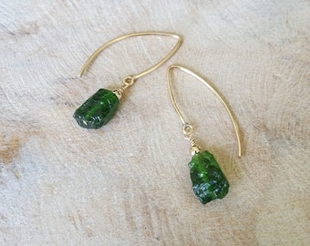 Gold Rough Chrome Diopside Earrings