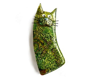 Cat brooch, Cat pin named CLOVIS, cat lovers gift green polymer clay cat pin Animal brooch, collectible cat, Mothers day gift for cat lovers