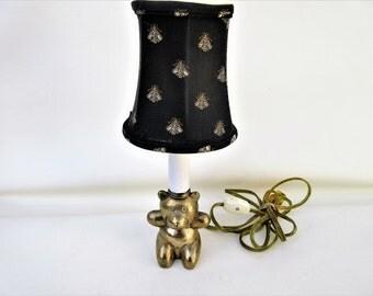 Vintage Brass Lamp | Brass Bear | Accent Lamp | Table Lamp | Nursery Lamp | Fabric Shade | Night Light