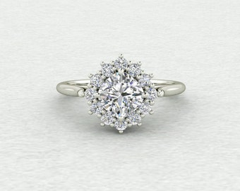 Forever One 6mm Square Cushion and Diamond Starbust Cluster Engagement Ring LCDH043