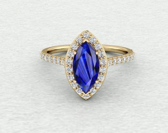 10x5mm Marquis Shaped Chatham Blue Sapphire and Conflict Free Diamond Floating Halo Engagement Wedding Ring LCDH045