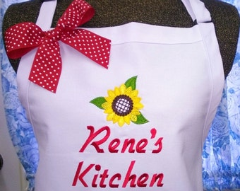 Sunflower Apron Kitchen Cooking Personalized Gift