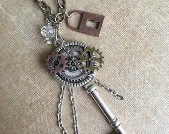 Steampunk Key Long Necklace Silver Charm Pendant Jewelry Skeleton Key Gears