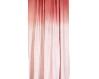 Dusty rose curtain Ombre, Dip dye linen curtain Cherry red fade to dusty rose, Custom length linen curtains, privacy or blackout lined